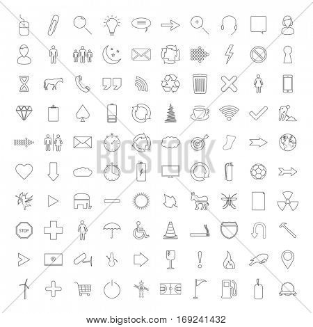 Thin line icons on a white background