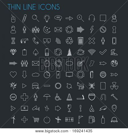 Thin line icons on a dark background