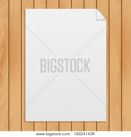 Blank paper on a light wood texture background