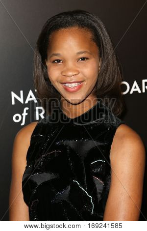 NEW YORK-JAN 4: Actress Quvenzhane Wallis attends the National Board of Review Gala at Cipriani Wall Street in New York on January 4, 2017.