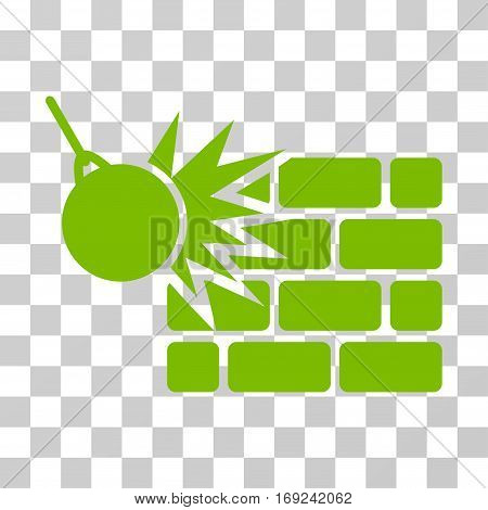 Destruction icon. Vector illustration style is flat iconic symbol eco green color transparent background. Designed for web and software interfaces.