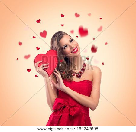 young cute woman in love, Valentine's day concepts