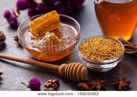 healthy product of bee- honeycomb, pollen, propolis, honey concept