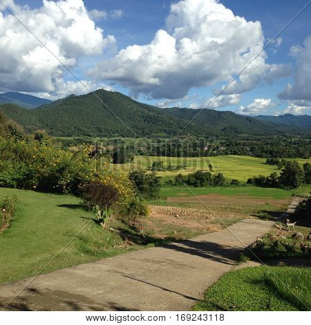 The rice feild around the moutain are imagination.
