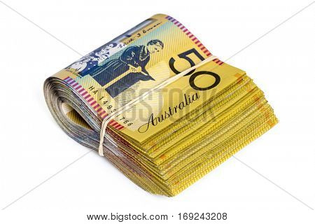Bundle of Australian money.  Fifty dollar bills.  Isolated on white.