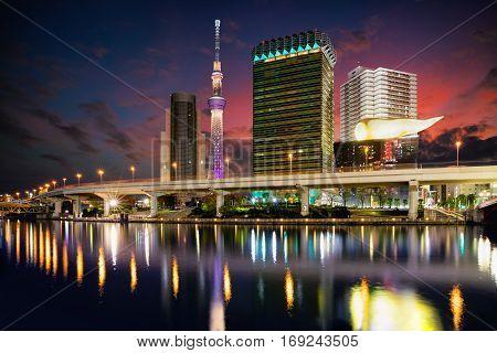Tokyo Japan skyline on the Sumida River