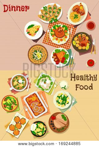Meat dishes with snacks icon set of hamburger, meat pie, pork shank with vegetables, pancake with ham, baked chicken, potato salads with sausage and fish, eggplant sandwich, pork roll, liver pate