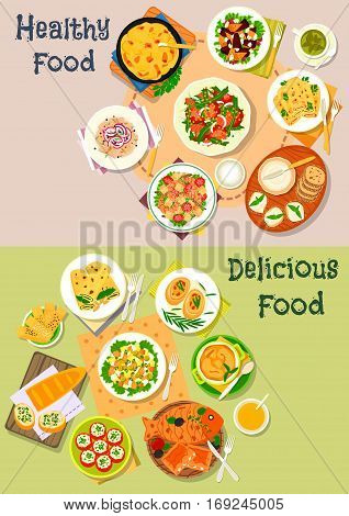 Dinner dishes with fish and cheese icon set of salmon, cheese, shrimp, beet and herring salad, cheese bread, fish pie, pancake with salmon and pesto, cheese sandwich, stuffed tomato, potato casserole