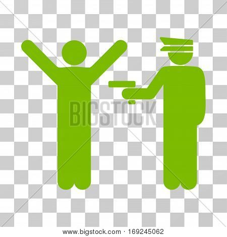 Police Arrest icon. Vector illustration style is flat iconic symbol eco green color transparent background. Designed for web and software interfaces.