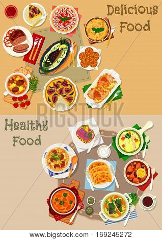 Tatar national cuisine icon set with baked chicken, fish and lamb, chicken noodle, vegetable, fish and sour soups, lamb rice pilaf, meat and potato patty, omelette, cheese cake, cream pie, honey sweet