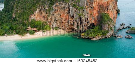Aerial view of Phra Nang tropical beach in Krabi province, Thailand