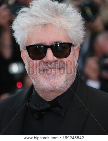 Pedro Almodovar attends the screening of 'Julieta' at the 69th Cannes Festival at Palais on May 17, 2016 in Cannes, France.