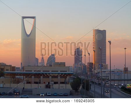 RIYADH - MARCH 01: View of Riyadh downtown on March 01, 2016 in Riyadh, Saudi Arabia.