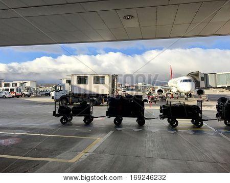 GENEVA - JANUARY 4: Aircraft operations at Geneva International Airport on January 4, 2017 in Geneva, Switzerland.