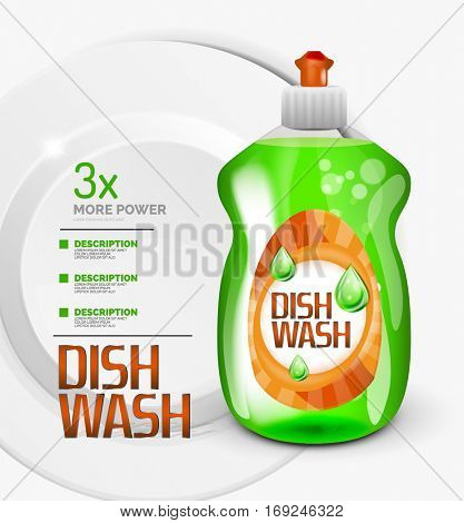 Vector green kitchen dish wash bottle ad product package