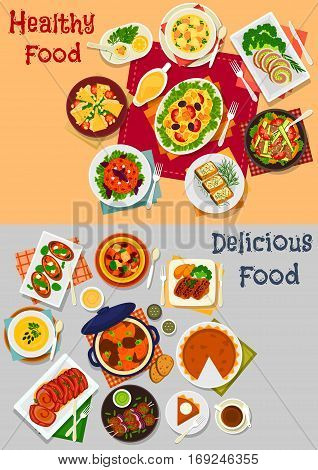 Dinner menu with main dishes and dessert icon of baked meat, salads with vegetable, pork, cheese, chicken and pasta, pork bean stew with veggies, pumpkin pie, salmon soup, cheese and fish sandwiches