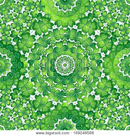 Crazy texture with clover. St. Patrick's Day seamless pattern. Vector illustration