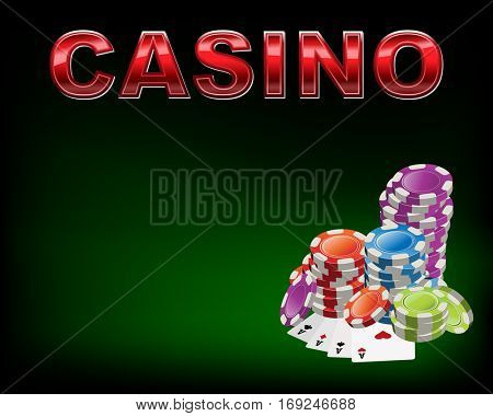 Poker table with casino chips and cards