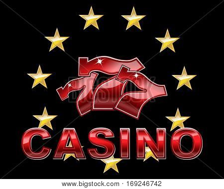 Logo for Casino with lucky seven font