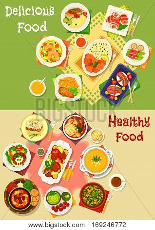 Dinner and lunch food icon set of soups with vegetable, chicken, beef, bean and lamb, bacon rolls with sausage, cheese and veggies, beef steak, pork stew, meat rice pie, fish with rice, potato fries
