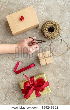 wrapping gifts in box for holiday top view mock up.