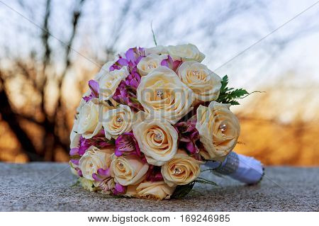 Wedding bouquet with pink and roses White roses wedding bouquet