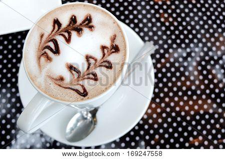 Caffe mocha with art for coffee break