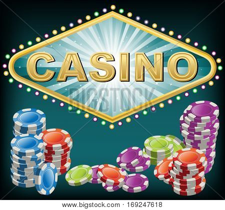Casino background with chips