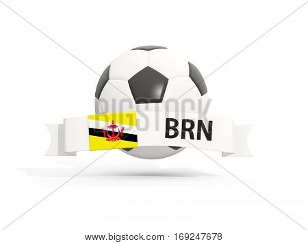 Flag Of Brunei, Football With Banner And Country Code