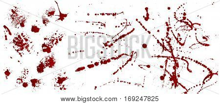 Set of various blood or paint splatters,Vector Set of different blood splashes, drops and trail. Isolated on white background.