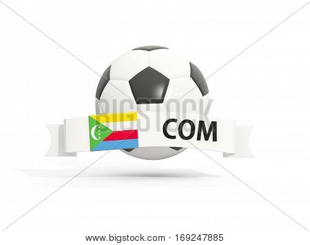 Flag Of Comoros, Football With Banner And Country Code