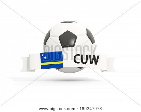 Flag Of Curacao, Football With Banner And Country Code