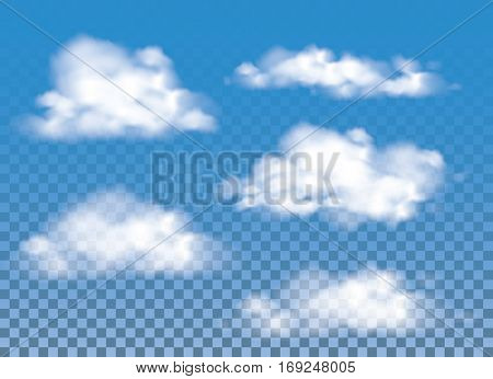 Fog , smoke and cloud isolated transparent special effect. Vector cloudiness, mist and smog background. Set.