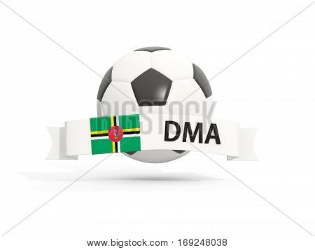 Flag Of Dominica, Football With Banner And Country Code