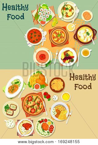 Popular lunch food icon set with sushi roll, pizza, chicken leg with fries, grilled meat with vegetables, lamb stew, soups with chicken, fish, meatball, tomato and lentil, potato chip, cheese sandwich
