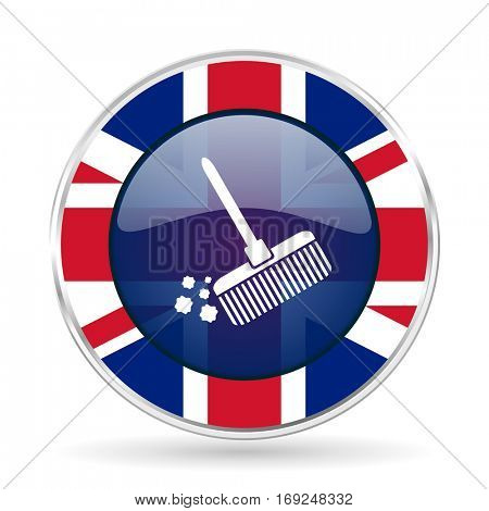 broom british design icon - round silver metallic border button with Great Britain flag
