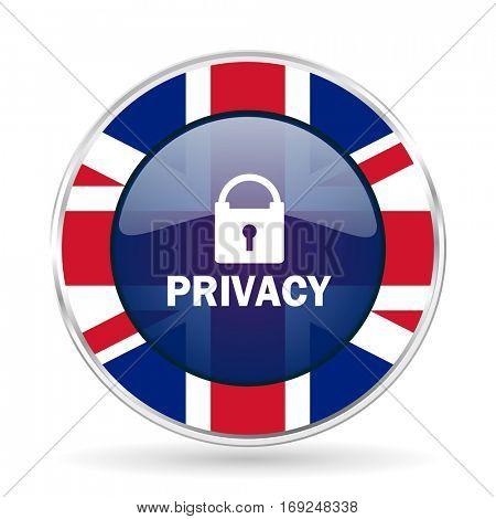 privacy british design icon - round silver metallic border button with Great Britain flag