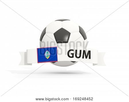 Flag Of Guam, Football With Banner And Country Code