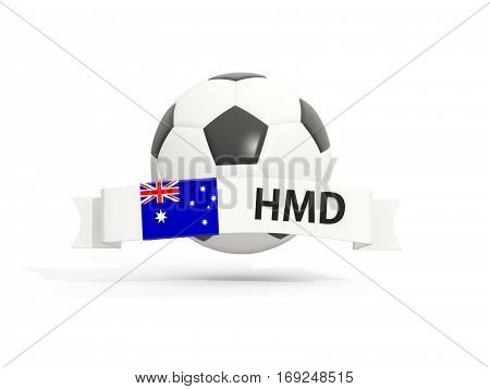Flag Of Heard Island And Mcdonald Islands, Football With Banner And Country Code