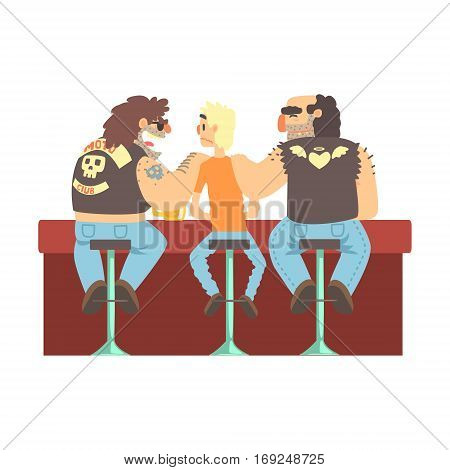 Two Biker Gang Members Scarying Skinny Bar Client, Beer Bar And Criminal Looking Muscly Men Having Good Time Illustration. Part Of Series Of Dangerous Chunky Guys At The Pub Having Drinks Cool Vector Drawings.