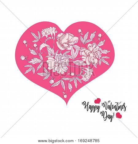 Background with Valentines day heart. Hand drawn sketches  vector illustration