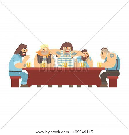 Long Table With Tattoed Gang Having Drinks, Beer Bar And Criminal Looking Muscly Men Having Good Time Illustration. Part Of Series Of Dangerous Chunky Guys At The Pub Having Drinks Cool Vector Drawings.