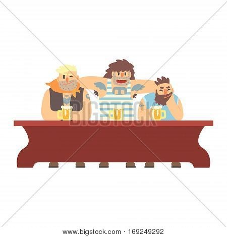 Three Gang Members With Scull Tatoo Drinking At The Long Table, Beer Bar And Criminal Looking Muscly Men Having Good Time Illustration. Part Of Series Of Dangerous Chunky Guys At The Pub Having Drinks Cool Vector Drawings.