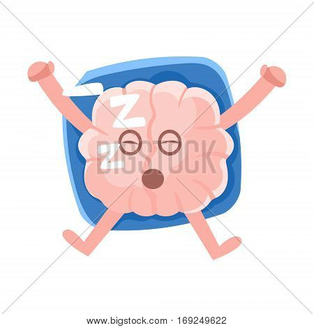 Humanized Brain Sleeping On The Back On The Pillow, Intellect Human Organ Cartoon Character Emoji Icon. Human Mind And Lifestyle Emoticon Illustration Showing Intellectual Brainpower.