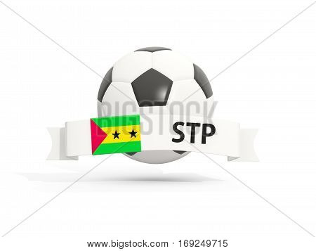 Flag Of Sao Tome And Principe, Football With Banner And Country Code