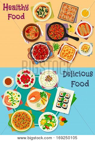 Healthy food icon set of vegetable salad with cheese, egg and ham, chicken and vegetable pies, sushi roll, salmon steak, meat stew and paella, mushroom cream soup, cheesecake, pumpkin omelette