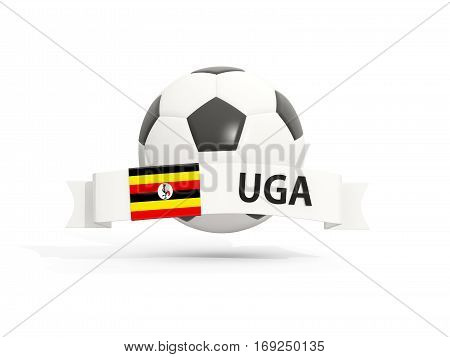 Flag Of Uganda, Football With Banner And Country Code