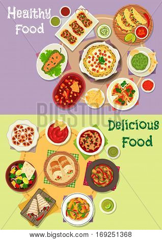 Mexican cuisine icon set with vegetable and meat taco, tortilla, burrito and fajita with salsa, guacamole sauce, tomato bean soup and salad, chilly chicken, stuffed pepper, cheese pancake, sweet bread