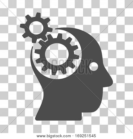 Intellect Gears icon. Vector illustration style is flat iconic symbol gray color transparent background. Designed for web and software interfaces.