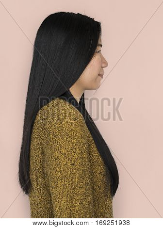 Asian Woman Side View Concept